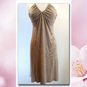 Michael Stars Stretchy Beige Gold Halter Dress